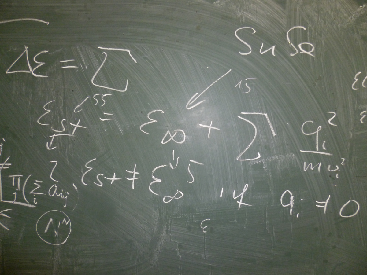 blackboard with equations
