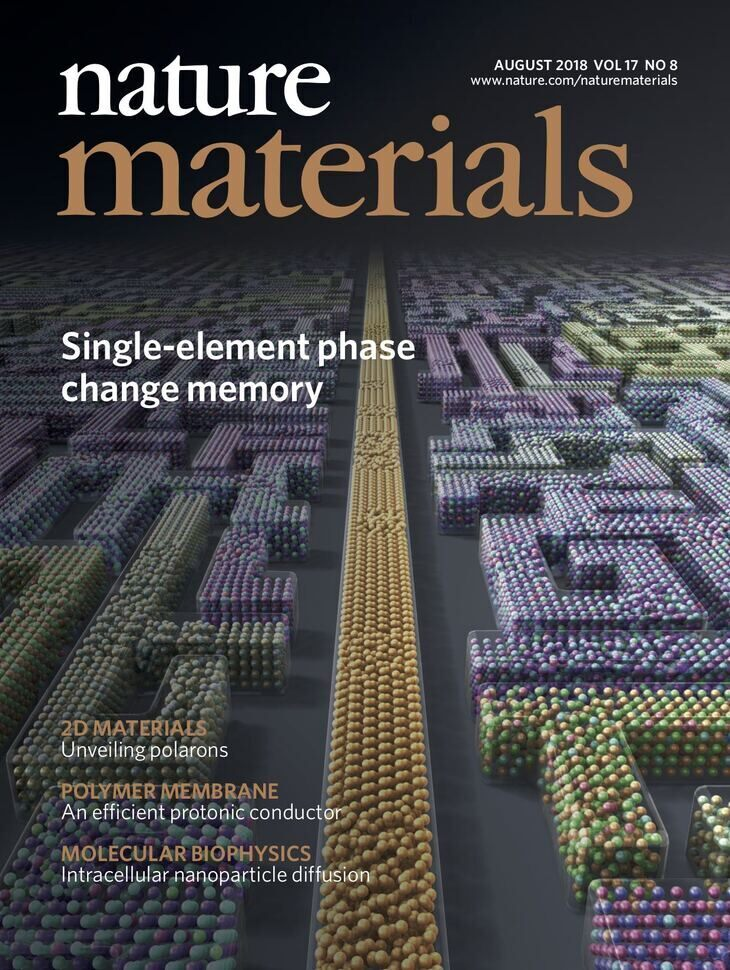 The image shows the cover of the August 2018 issue of Nature Materials